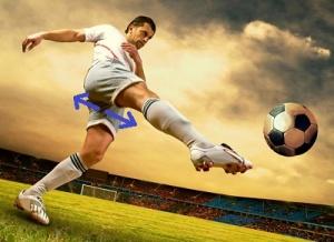 soccer kicking ball arrow
